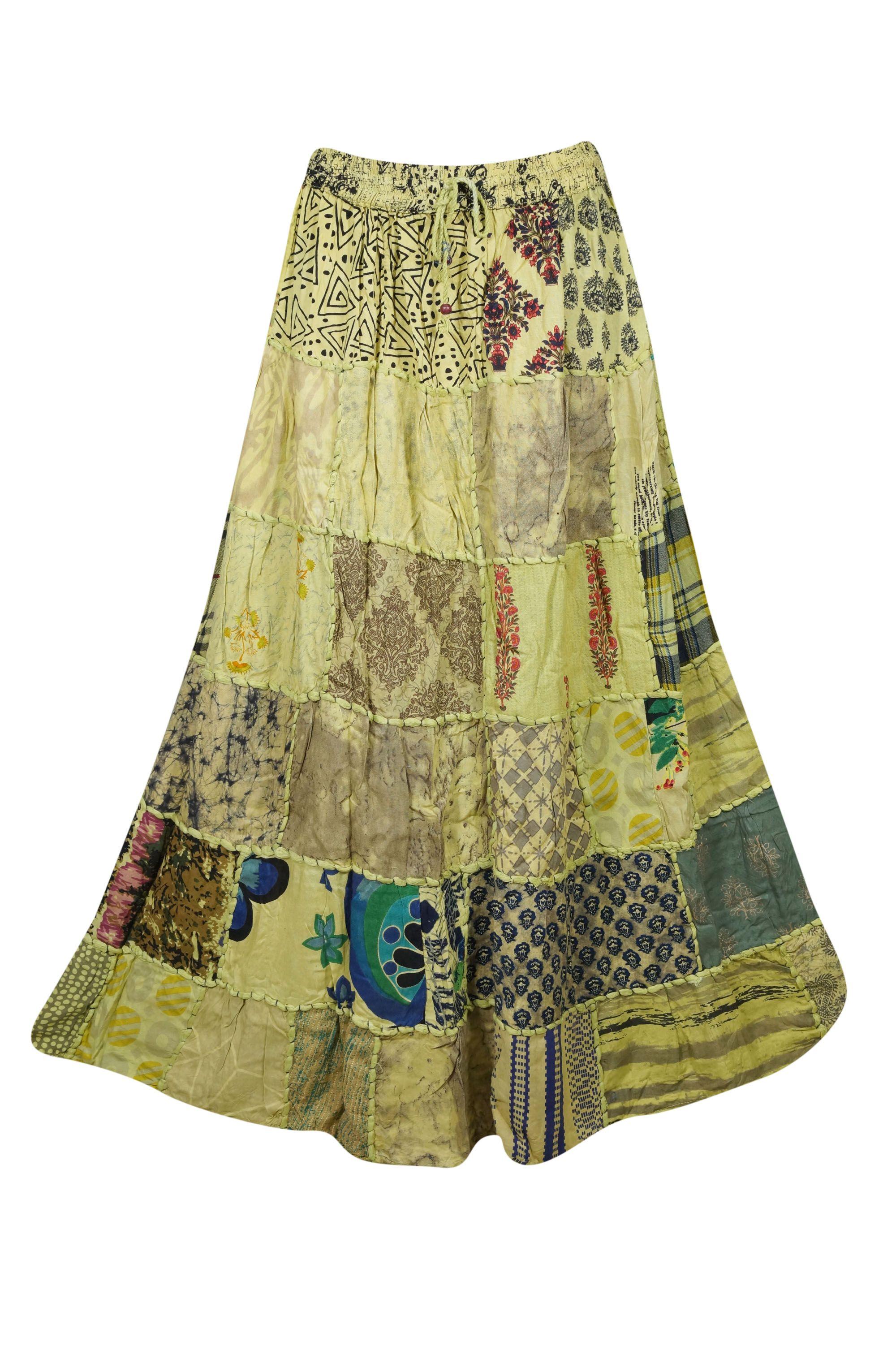 de5cbb8d2 Mogul Women's Vintage Patchwork Long Skirt Rayon Indian Dori Maxi Skirts# Patchwork, #Long