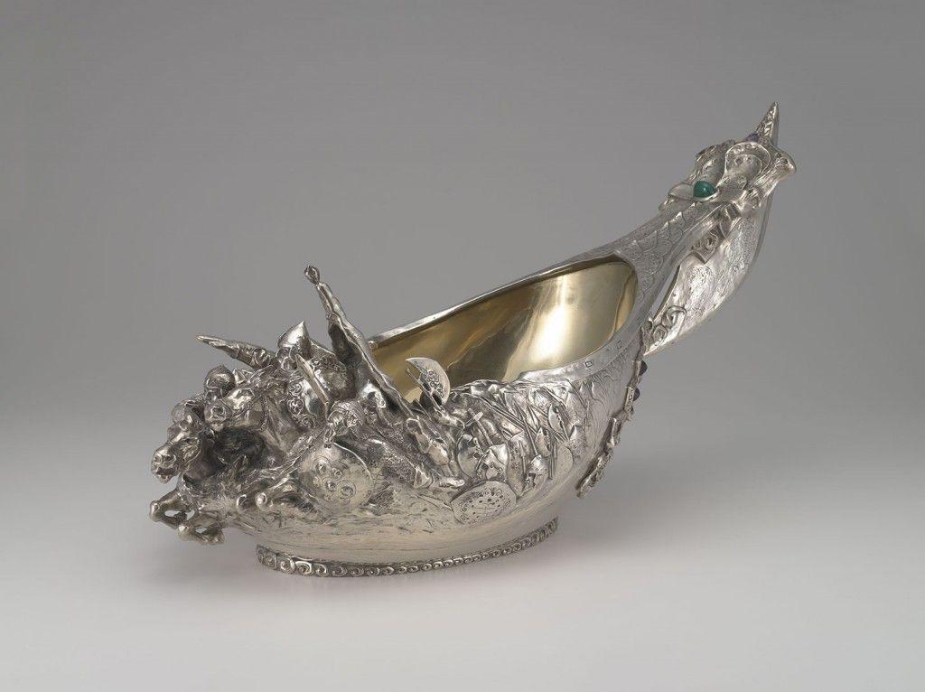 Monumental Kovsh 1899 - 1908. Fabergé firm (1842 - 1917 ). Silver, chrysoprase, amethyst. | Virginia Museum of Fine Arts