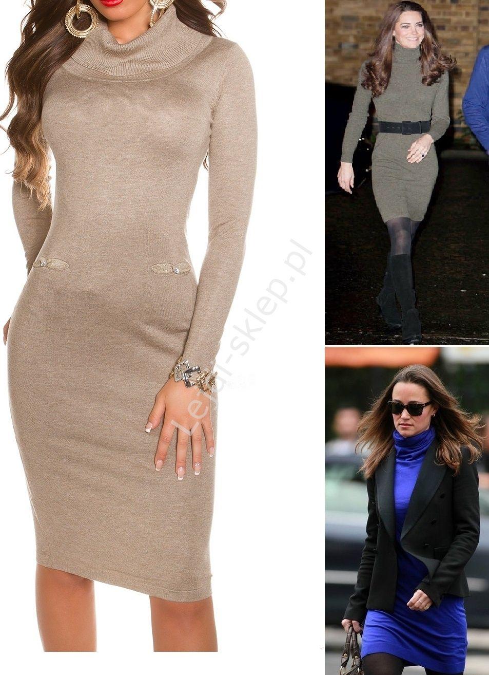 4e760245e0 Dzianinowa sukienka z golfem w stylu Kate Middleton