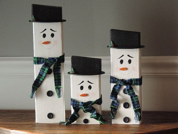 Snowmen Wood Snowman Hand Painted Wooden Snowman Family Christmas