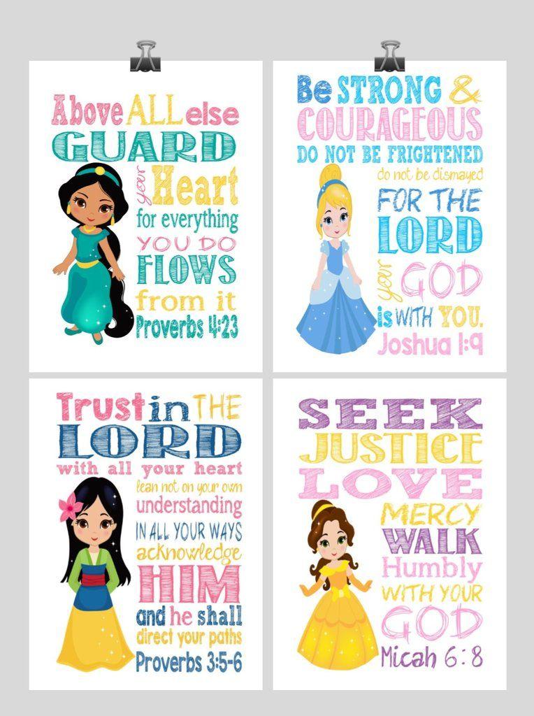 Princess Set of 4 - Christian Nursery Decor Wall Art Print - Jasmine, Cinderella, Mulan and Belle - Bible Verse - Multiple Sizes images