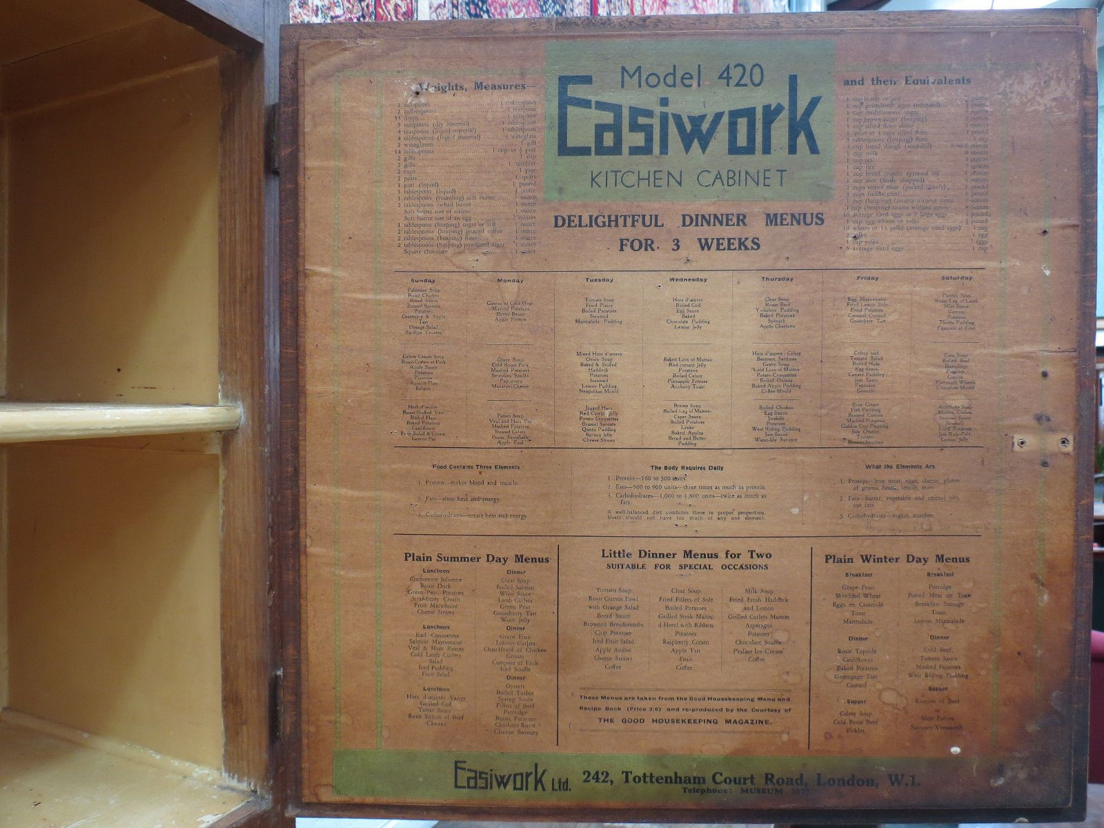 1930s easiwork model 420 stand alone utility kitchen cabinet