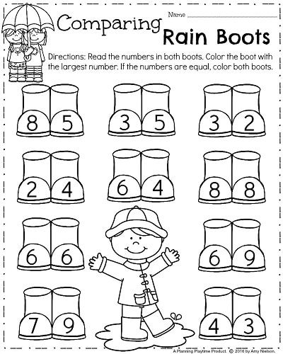 Spring Kindergarten Worksheets For April Comparing Numbers Rain Boots Spring Worksheets Kindergarten Spring Kindergarten Kindergarten Homework