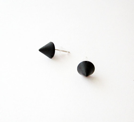 Black Spike Stud Earrings Small Cone Post Plastic Posts Minimal Gothic Cyber Goth Earring On Etsy