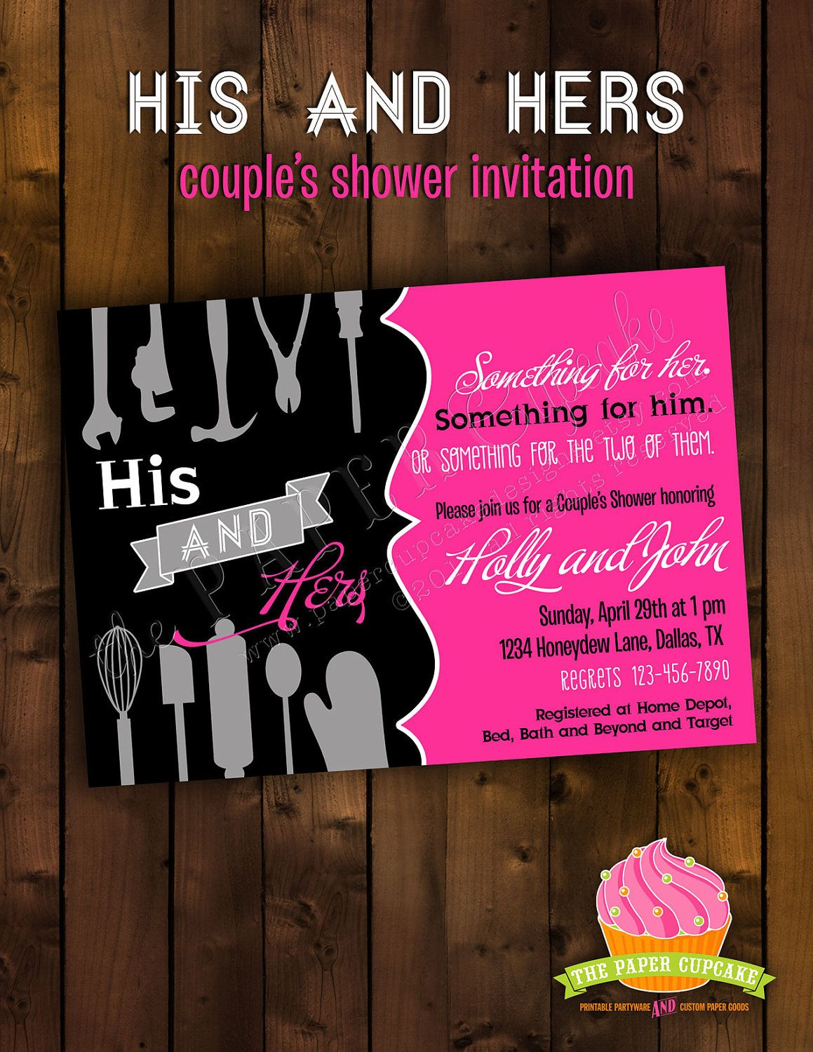 Couples Wedding Shower Invitations Wording Printable Bridal Shower  Invitation Design His And Hers Couple U S Bridal