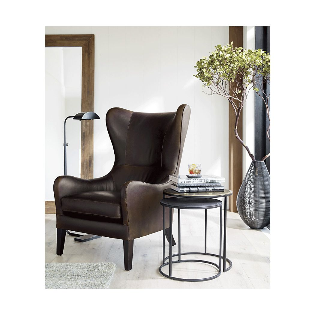 Excellent Garbo Leather Wingback Chair Reviews Crate And Barrel Machost Co Dining Chair Design Ideas Machostcouk