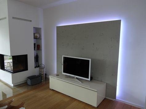 TVSchrank Wohnzimmer / Rückwand mit LED von Lauer Die Schreinerei - wohnzimmer deko steinwand
