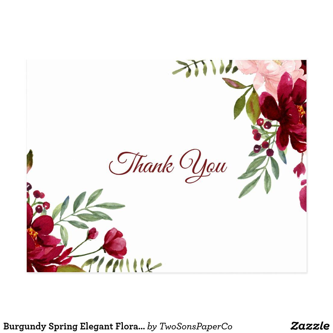 Burgundy spring elegant floral thank you postcard with