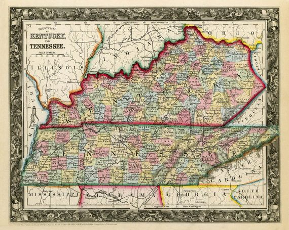 24x36 Vintage Reproduction Civil War Map Western Tennessee Part of Kentucky 1865