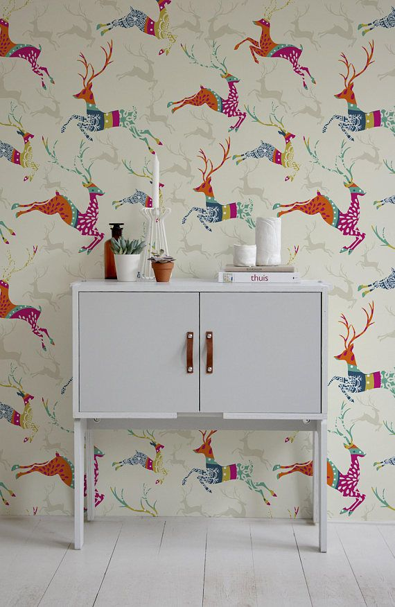 Deer Wallpaper Removable Wallpaper Temporary Wallpaper Peel And