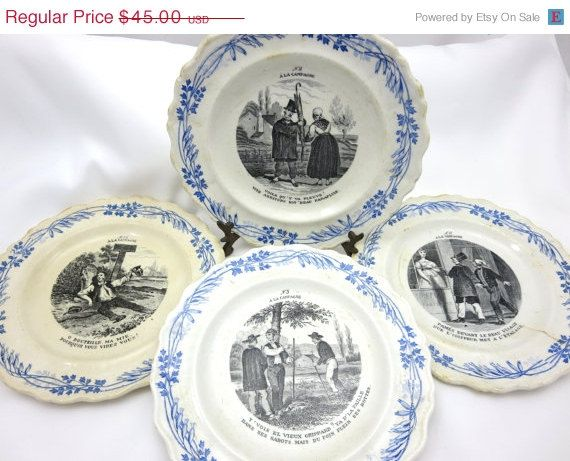 Antique Collector Plates - French Creil Et Montreau 1800s A La C&agne Scene Dishes & Antique Collector Plates - French Creil Et Montreau 1800s A La ...