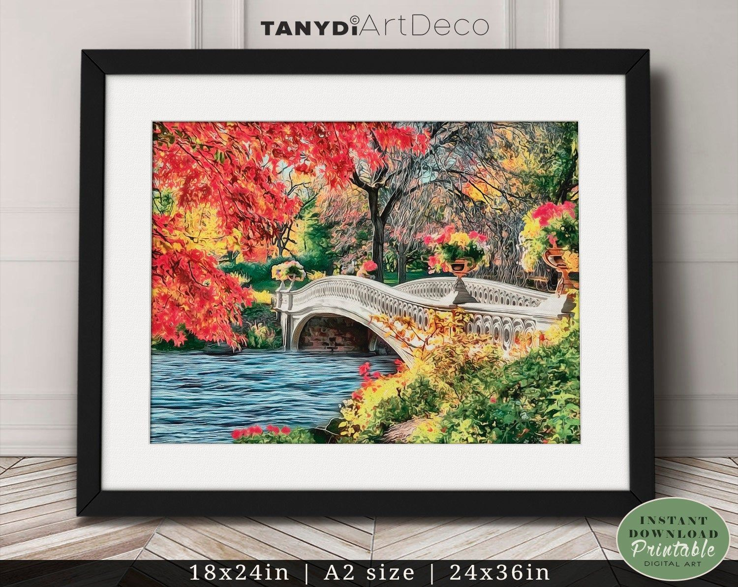Romantic Bridge On The Lake Digital Painting Park Colorful Trees