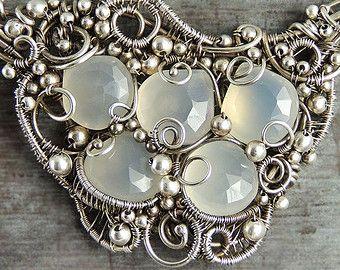 Wirewrapped White Grey Chalcedony Gemstones Sterling Silver Seafoam Necklace