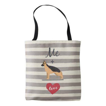 #stripes - #Me plus German Shepherd equal Love Cute Tote