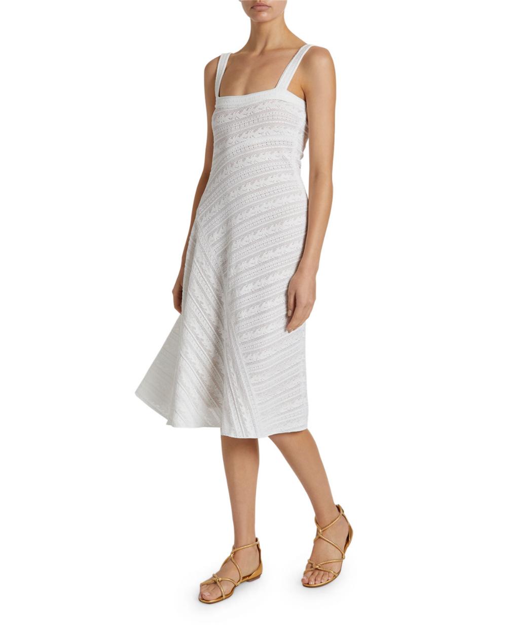Alaia Square Neck Striped Lace Midi Dress Midi Dress Alaia Dress Lace Midi [ 1250 x 1000 Pixel ]