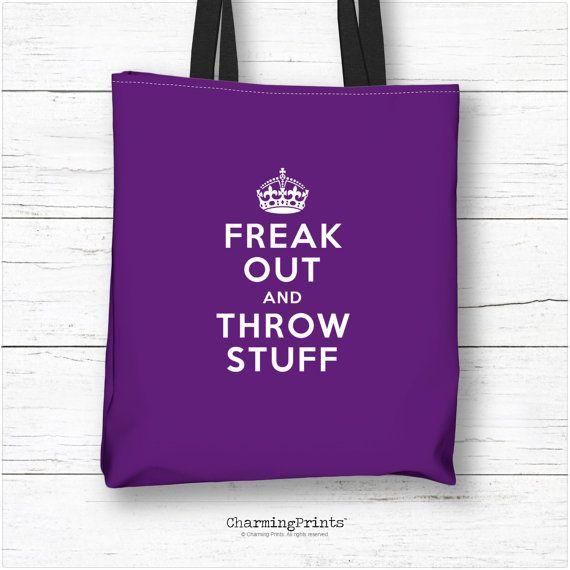 Tote bag, clutch, purse, wristlet, handbag, accessory, keep calm, carry on, carry on, freak out, humor, purple, funny, gift, CharmingPrints™