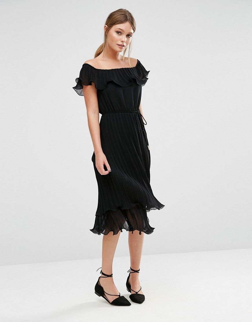317611bb7f3aa Oasis Pleated Ruffle Bardot Midi Dress | evening. | Bardot midi ...