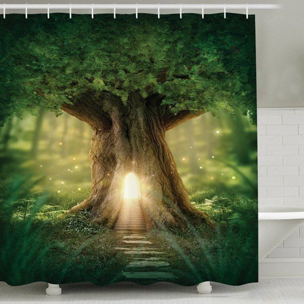 Waterproof Mouldproof Big Tree Print Shower Curtain GREEN CM In Curtains