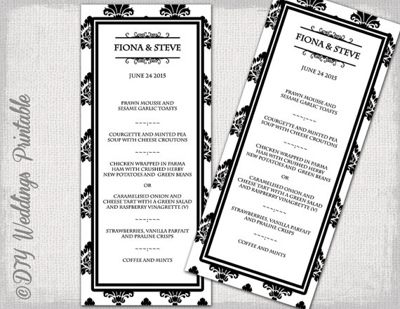 Wedding Menu Template Black  White Diy Damask Wedding Menu