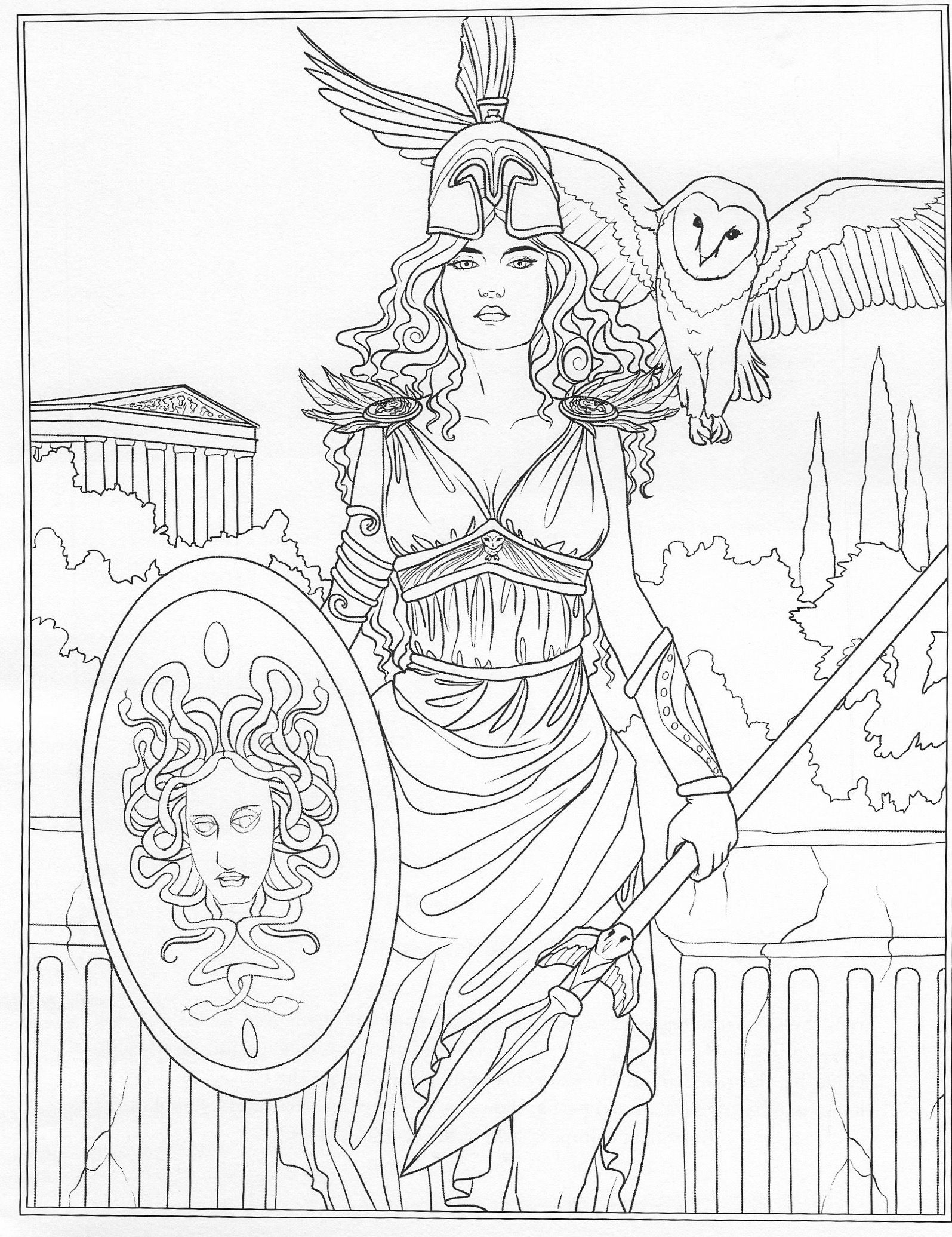Athena Coloring Page Greece Art Coloring Pages Greek Statues