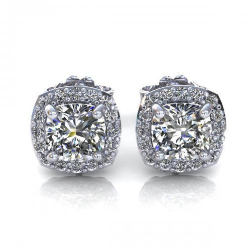 0.35CT cushion and round cut diamonds stud earrings