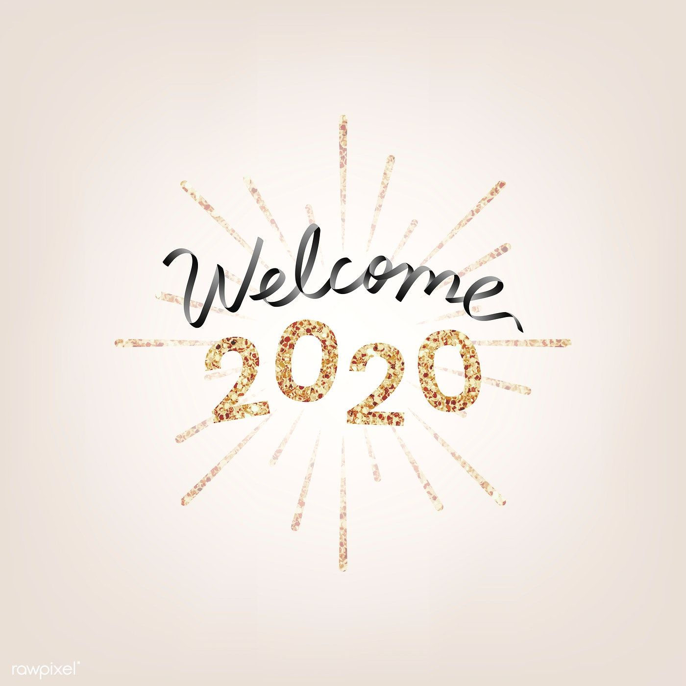 Download free illustration of Happy New Year 2020 typography illustration