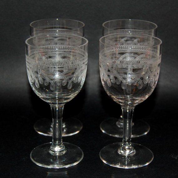 Set Of 4 Antique Bryce Cordial Liquor Stem Glasses Needle Etched Stemmed Glass Liquor Glasses Mason Jar Wine Glass