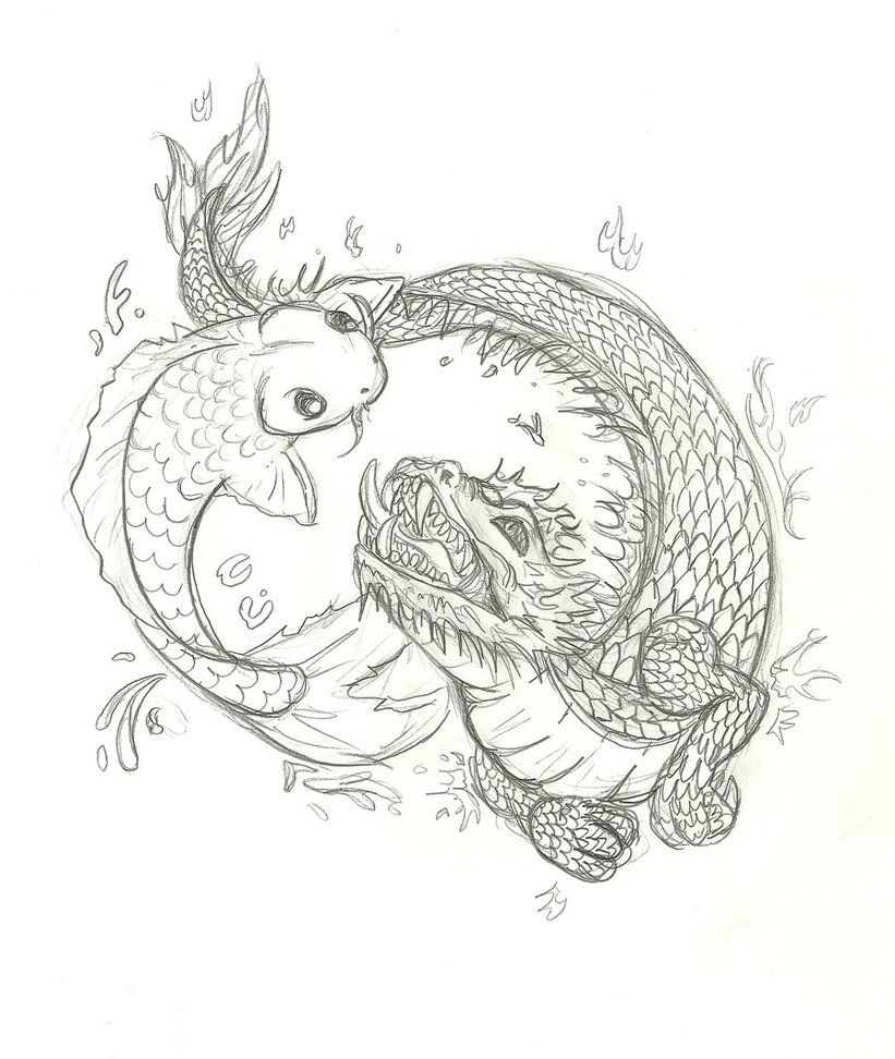 Photo of koi and dragon tattoo by Inu87 on DeviantArt