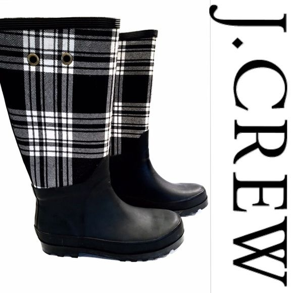 J. CREW Plaid Rain Boots 8 | Boots