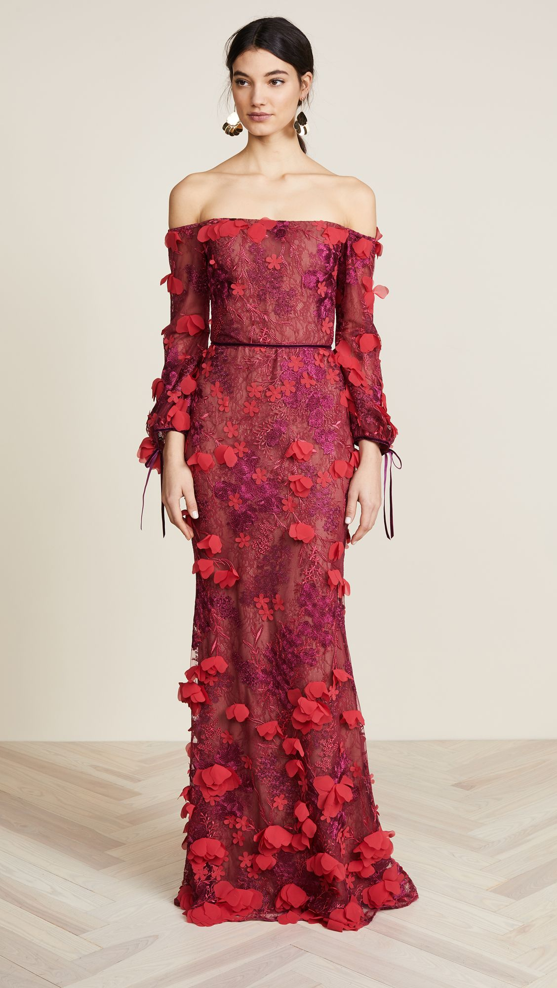 Batik dress for wedding party  Off Shoulder Embroidered Gown  Marchesa Gowns and Shoulder