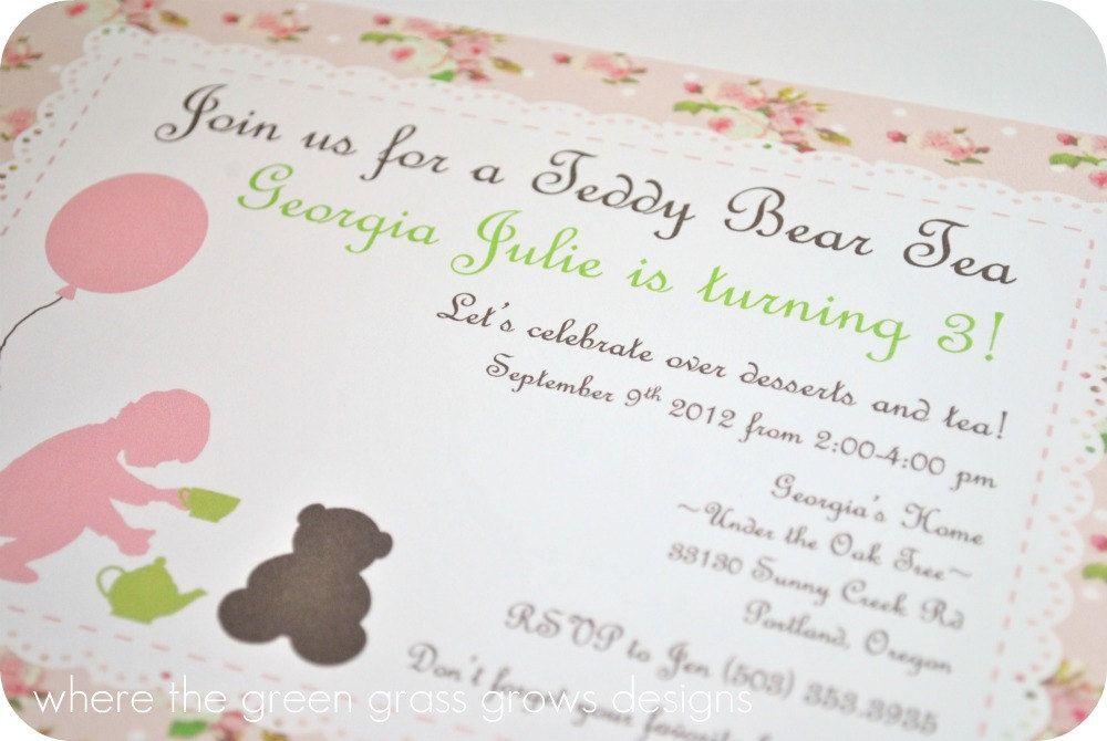 Teddy Bear Tea Party Invitations | Tea party invitations, Tea ...