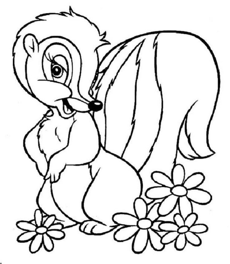 Flower The Skunk Coloring Pages Animal Coloring Pages Disney Coloring Sheets Coloring Pages