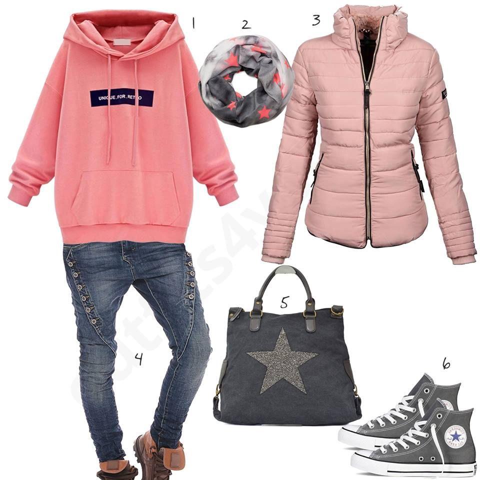 Rosa Hoodie, Winterjacke und Tasche mit Stern (w0558