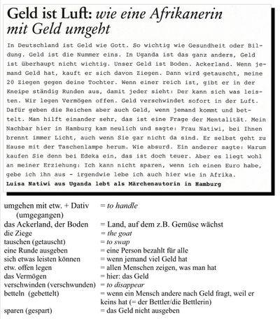 geld ist luft lesetext zum deutsch lernen mit anmerkungen. Black Bedroom Furniture Sets. Home Design Ideas