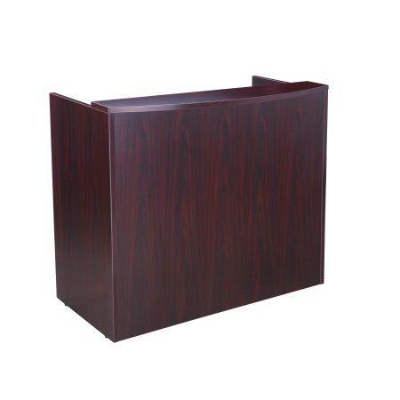 Boss Office Products Transitional Mahogany 48 Inch Reception Desk Walmart Com In 2020 Reception Desk Boss Office Receptionist Desk
