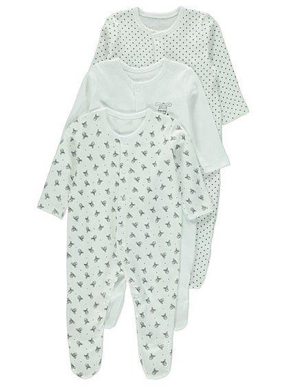 0d714aaf8c7 3 Pack Zebra Sleepsuits | Baby | George at ASDA Baby George, Gender Neutral  Baby