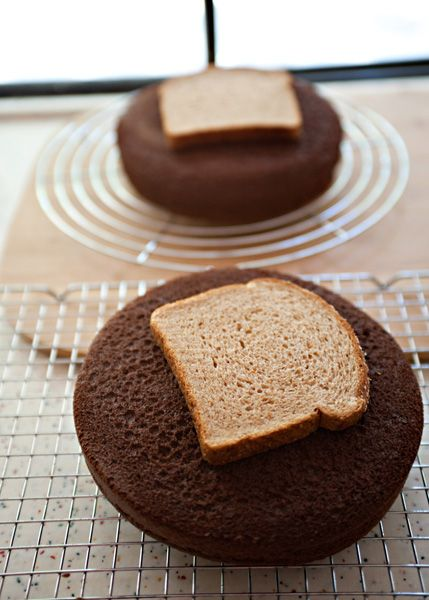 When cooling cake layers, place bread slices on top to keep the cake layers soft and moist while the bread becomes hard as a rock -- What a fun fact!!! It also keeps it from cracking in the middle too!