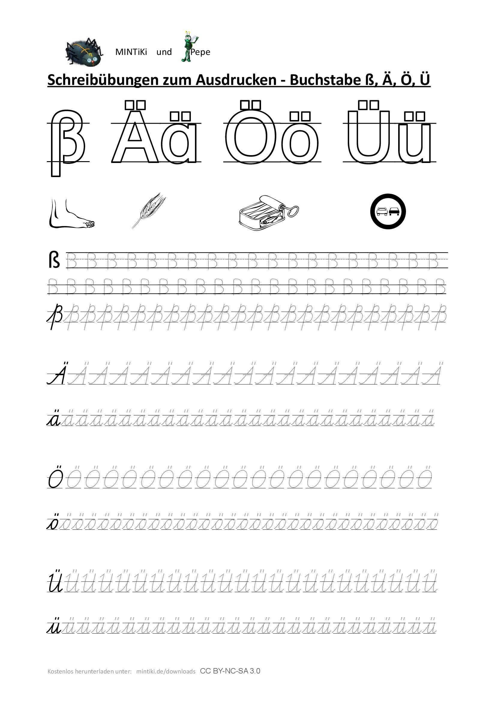 Schreibübung, Buchstaben, Sonderlaute, Druckbuchstaben ...