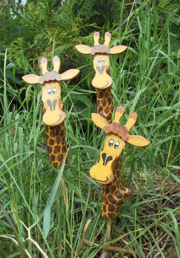 Gartenstecker Giraffe Ostern Basteln Holz Gartenstecker