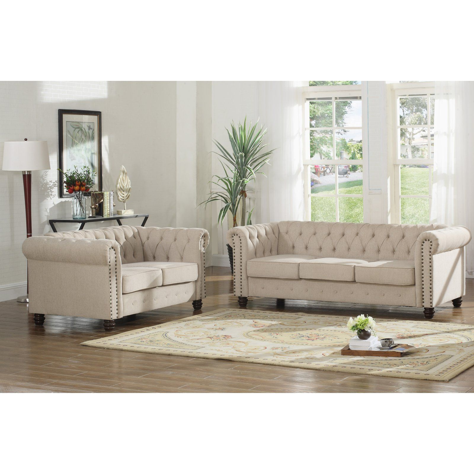 Cheap Living Room Furniture Stores: Best Master Furniture Venice 2 Piece Upholstered Sofa Set