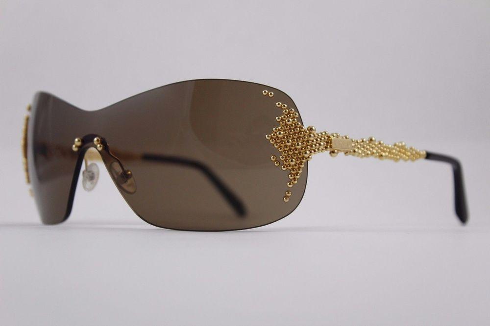 597f7e4efa1a FRED PEARLS - Gold w/ Brown Lens Shield Women's Premium Designer Sunglasses  designer fashion