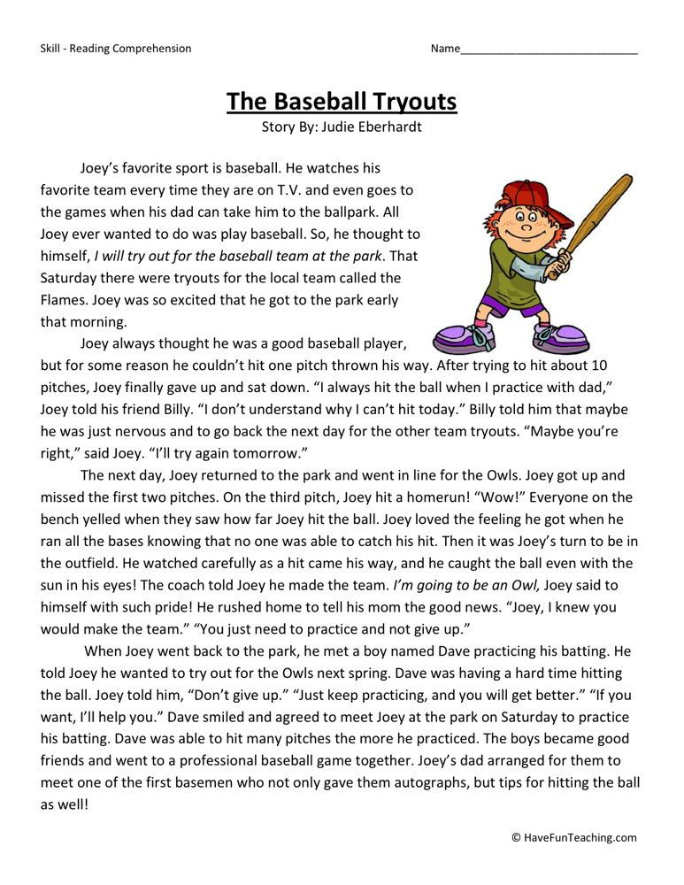 Reading Comprehension Worksheet The Baseball Tryouts