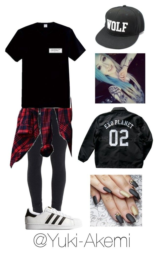 """EXO Planet"" by yuki-akemi ❤ liked on Polyvore featuring Paige Denim, adidas Originals, women's clothing, women, female, woman, misses and juniors"