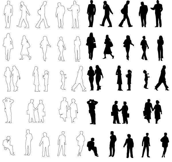 Architecture People Silhouettes PeopleFree Vector