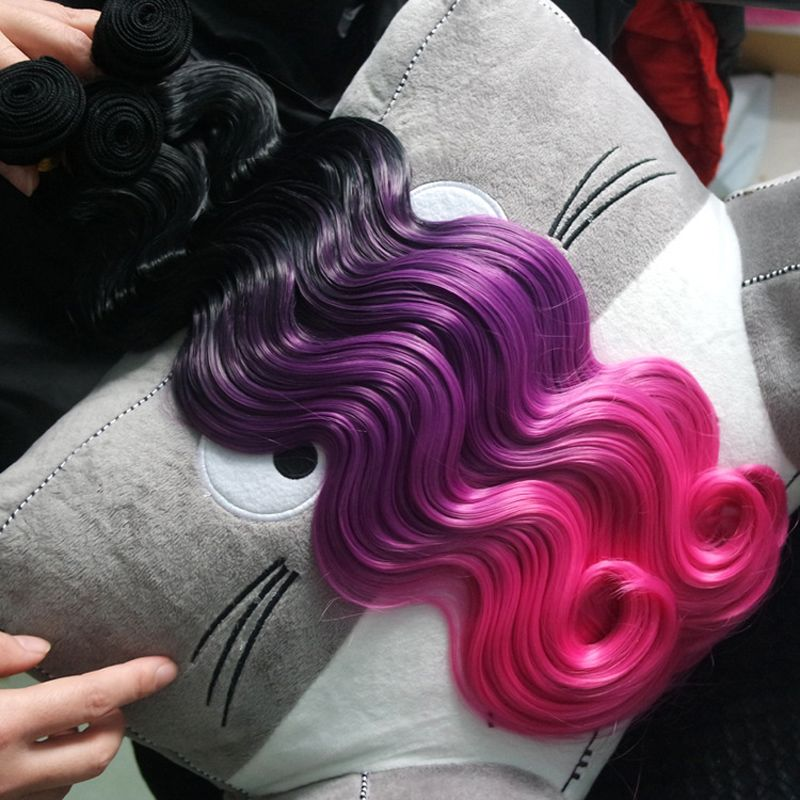 3pcs Black Purple Pink Hair Extensions Body Wave Synthetic Hair Weft