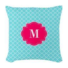 MATCH SHOWE CURTAIN Blue Pink Quatrefoil Monogram Woven Throw Pillow