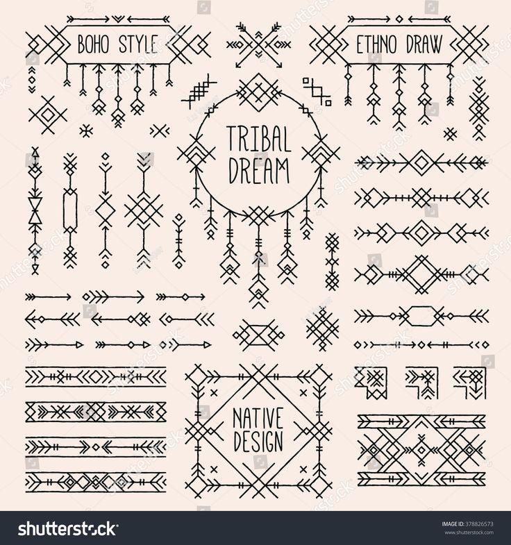 Geometric Tattoo – Tribal elements set. Boho style arrows, native ornament stripes. Folk geometric