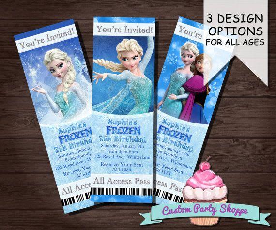Frozen Printable Movie Ticket Invitation Custom Frozen Invitation