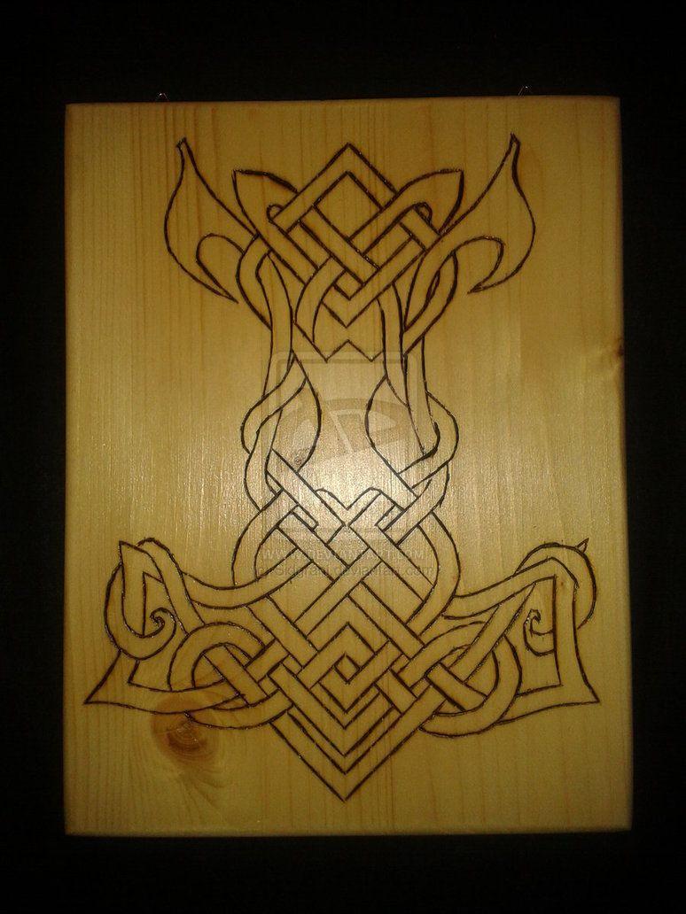 Burned Celtic Knot Thors Hammer By Sidgrani On Deviantart Thors Hammer Thor Hammer Tattoo Hammer Tattoo