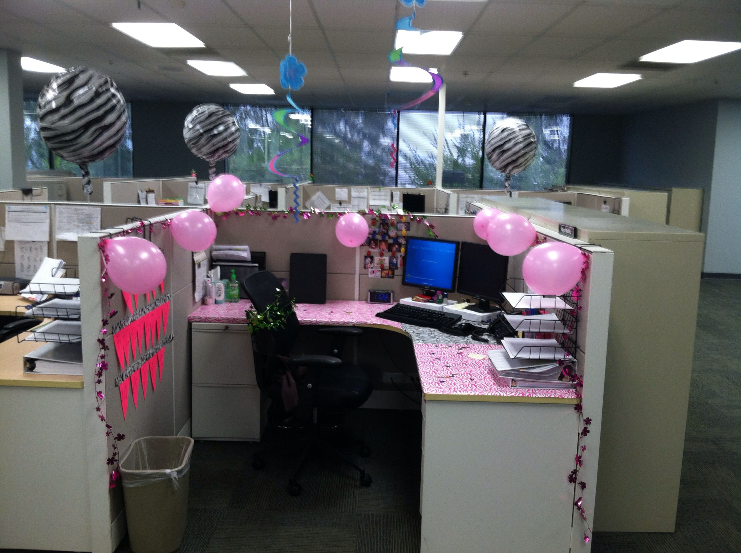 decoration of office. Zebra Theme Pink Black And White Cubical Birthday Decoration Of Office